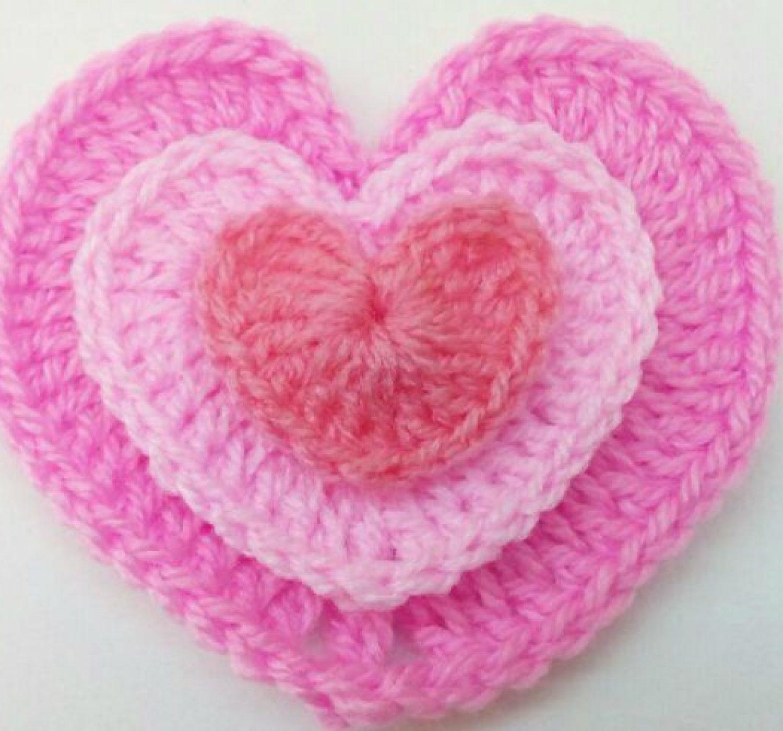 Coeur au crochet 3 tailles