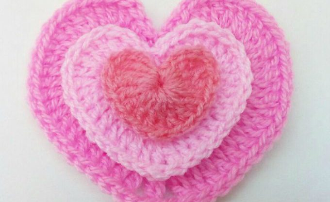 Crochet heart 3 sizes