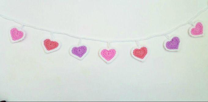 crochet heart garland