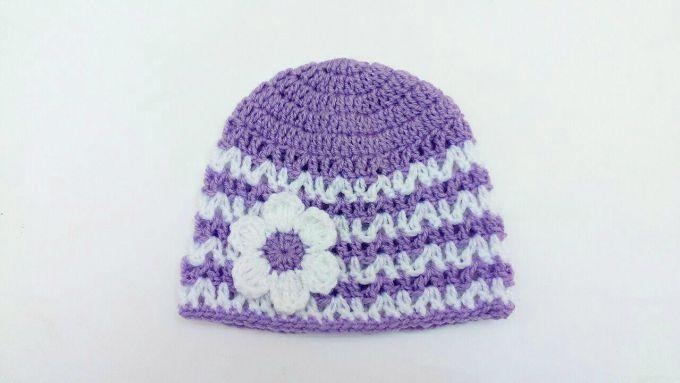 crochet violet baby hat