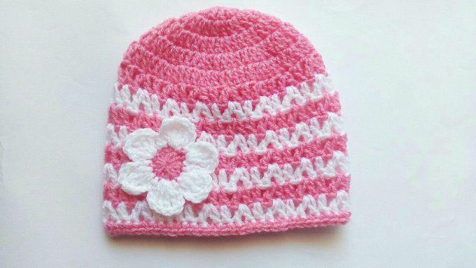 crochet pink baby hat