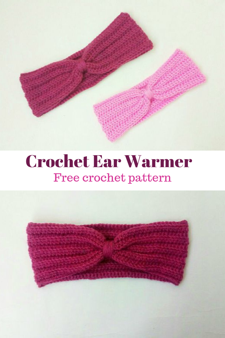 crochet pink and red ear warmers pinterest