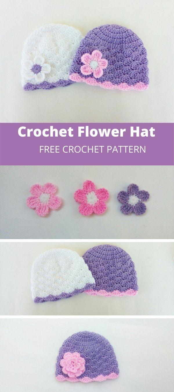 crochet baby flower hat