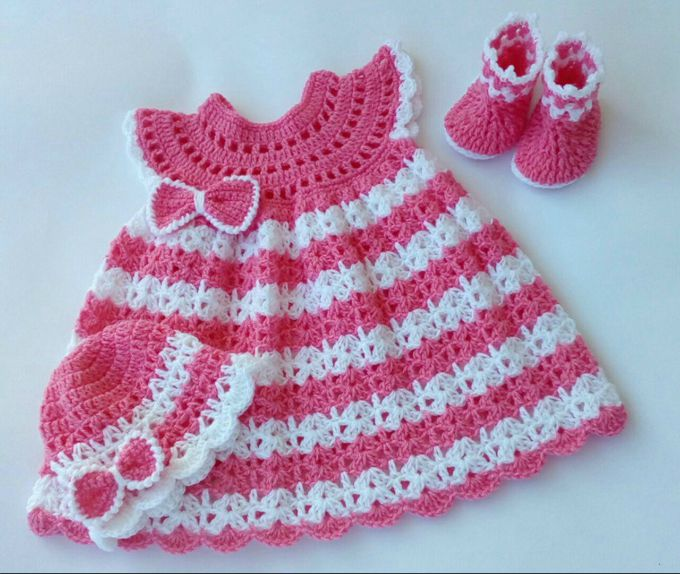 crochet baby dress set