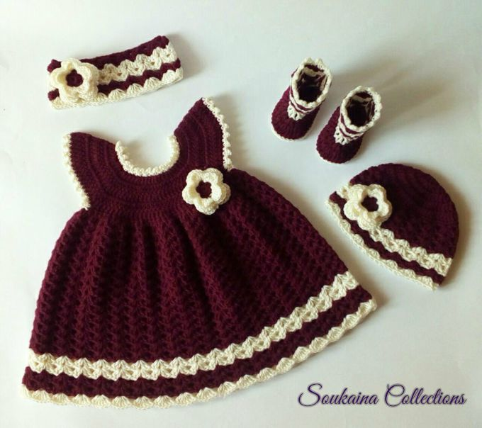 Princess Sara Crochet Baby Dress Complete Set