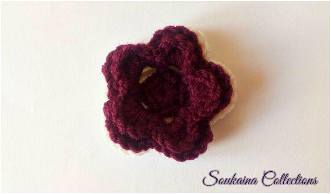 crochet 3 layer red flower
