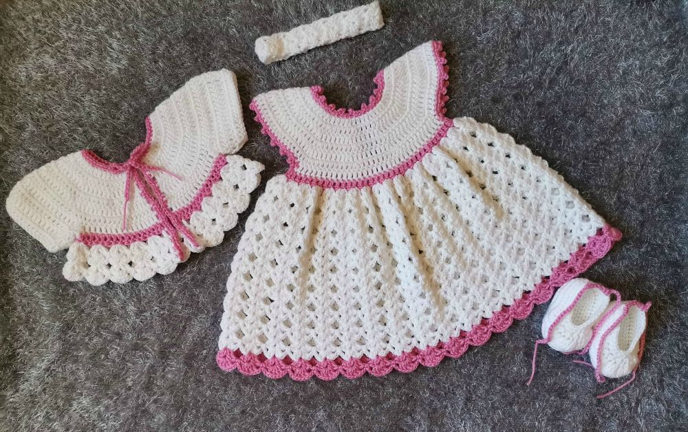 crochet white baby dress