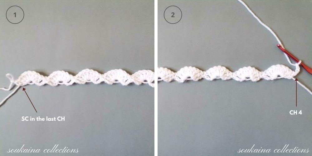 crochet white blanket step 2