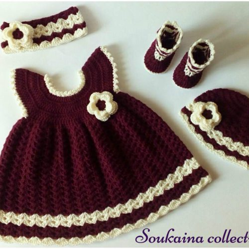 crochet baby red dress