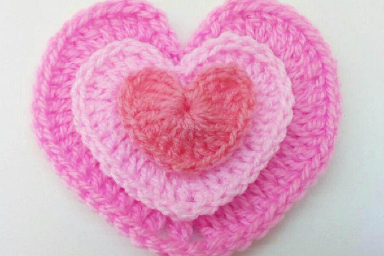 Coeurs au crochet 3 tailles